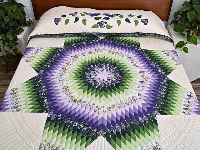 King Purple and Green Lone Star Country Bride Quilt Photo 1