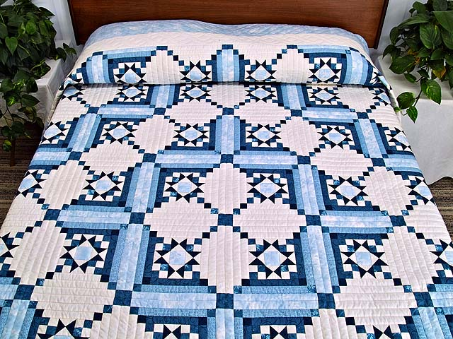 Blue Navy and Ivory Stars in the Cabin Quilt Photo 1