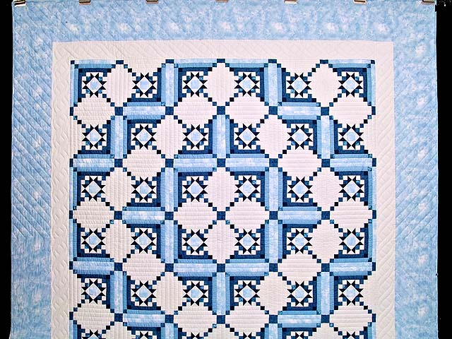 Blue Navy and Ivory Stars in the Cabin Quilt Photo 2