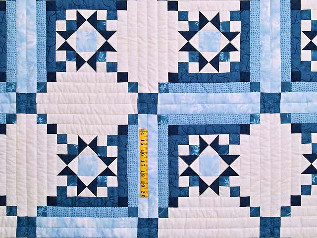 Blue Navy and Ivory Stars in the Cabin Quilt Photo 4