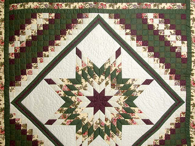 Green and Plum Trip Around the Star Quilt Photo 3