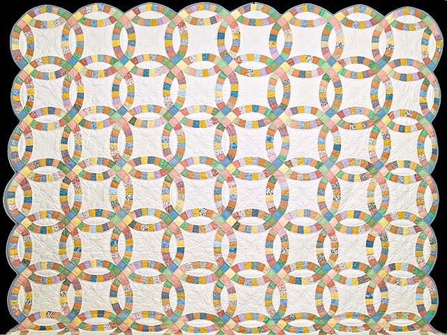 King Pastel Extra Fine Double Wedding Ring Quilt Photo 2