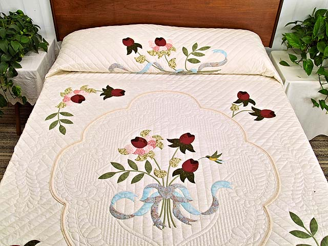 Burgundy Rose and Blue Lancaster Treasures Quilt Photo 1
