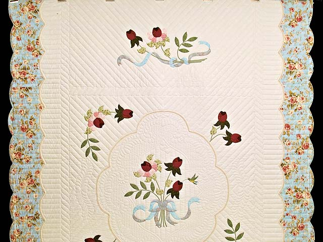 Burgundy Rose and Blue Lancaster Treasures Quilt Photo 2