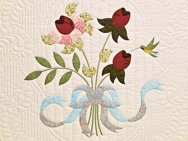 Burgundy Rose and Blue Lancaster Treasures Quilt Photo 4