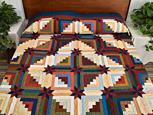 King Multicolor Colorado Log Cabin Quilt Photo 1