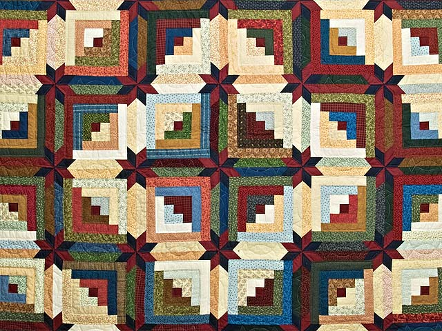 King Multicolor Colorado Log Cabin Quilt Photo 3