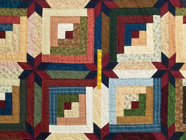 King Multicolor Colorado Log Cabin Quilt Photo 4