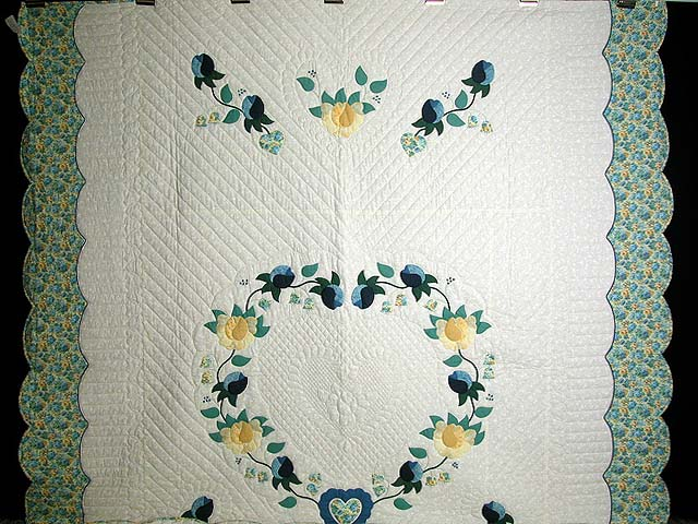 Blue and Yellow Heart of Roses Quilt Photo 2