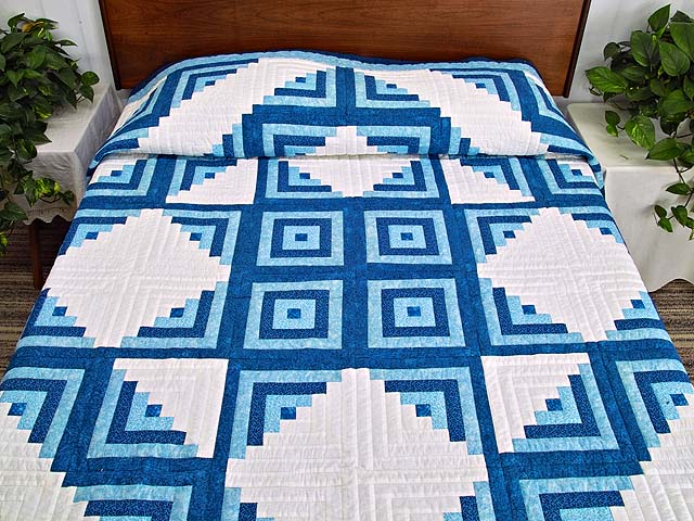 Blue and Cream Log Cabin Star Quilt Photo 1