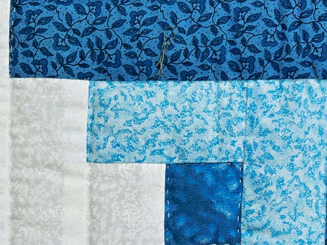 Blue and Cream Log Cabin Star Quilt Photo 6