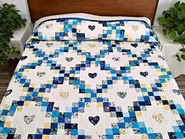 Blue and Yellow Irish Chain with Hearts Quilt Photo 1