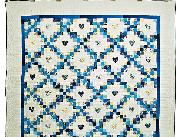 Blue and Yellow Irish Chain with Hearts Quilt Photo 2