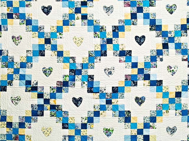 Blue and Yellow Irish Chain with Hearts Quilt Photo 3
