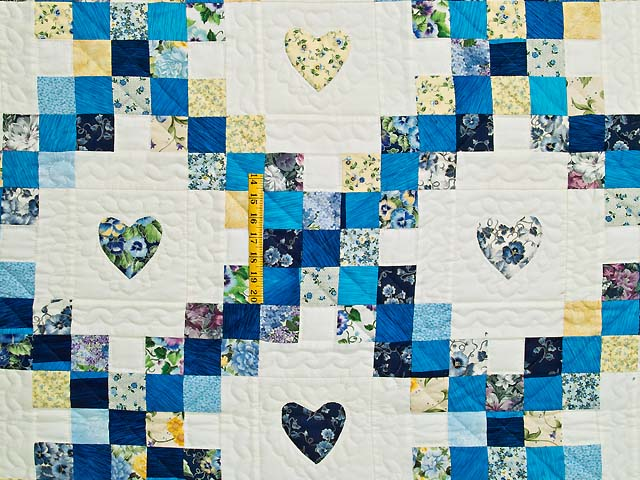 Blue and Yellow Irish Chain with Hearts Quilt Photo 4