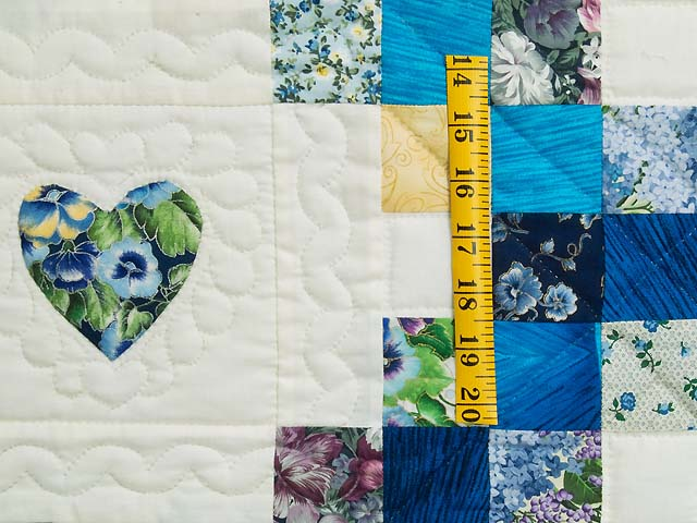 Blue and Yellow Irish Chain with Hearts Quilt Photo 5