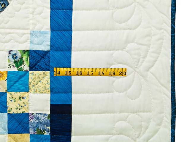 Blue and Yellow Irish Chain with Hearts Quilt Photo 7