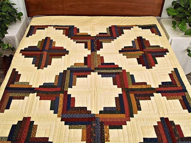 Twin Country Colors Log Cabin Quilt Photo 1