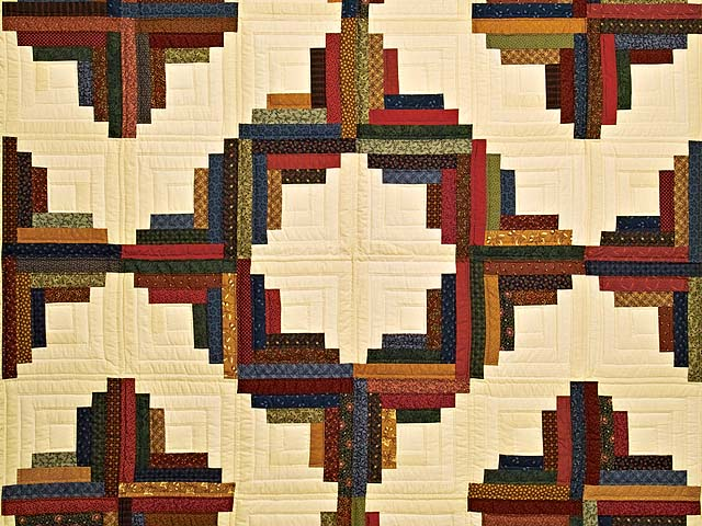 Twin Country Colors Log Cabin Quilt Photo 3
