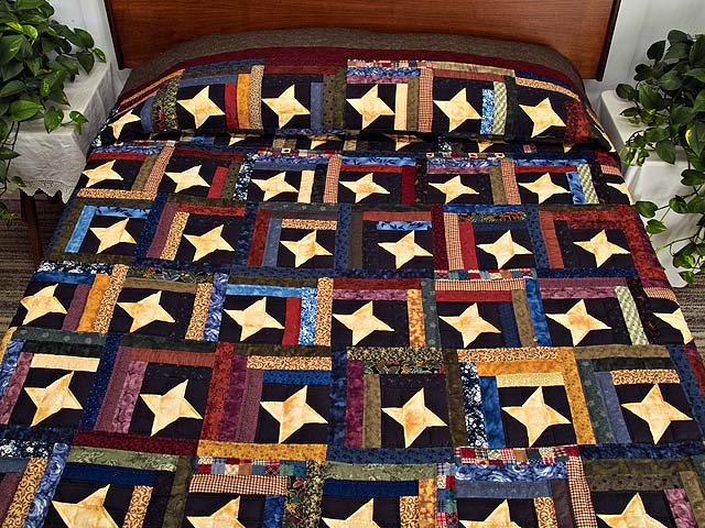 Dark Green Burgundy and Multi Midnight Sky Quilt Photo 1