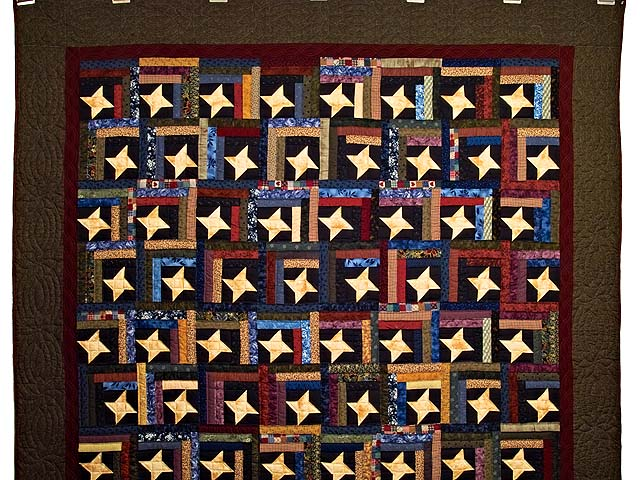 Dark Green Burgundy and Multi Midnight Sky Quilt Photo 2