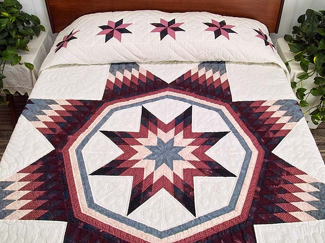 Rose Plum and Steel Blue Royal Star of Maryland Quilt Photo 1