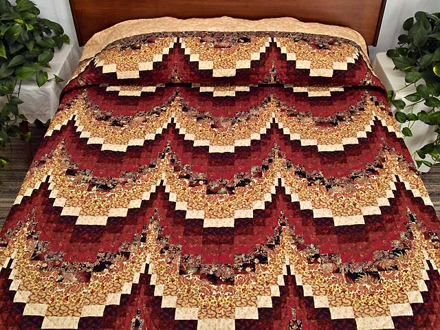Burgundy and Golden Tan Bargello Quilt Photo 1