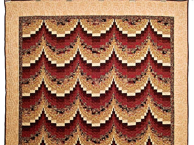Burgundy and Golden Tan Bargello Quilt Photo 2