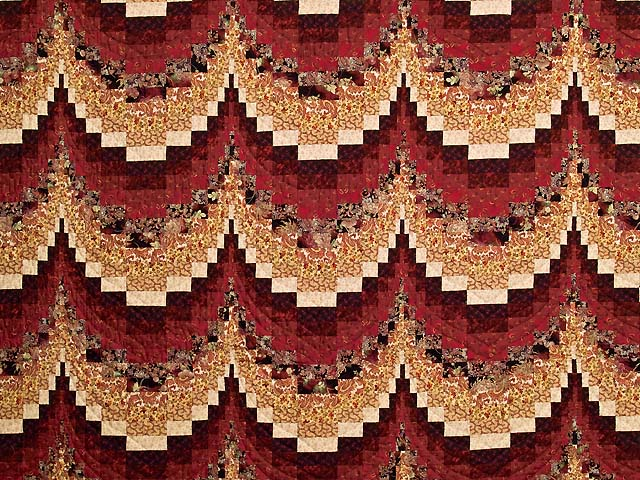 Burgundy and Golden Tan Bargello Quilt Photo 3