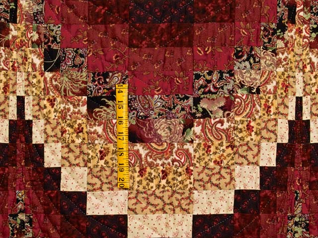 Burgundy and Golden Tan Bargello Quilt Photo 4