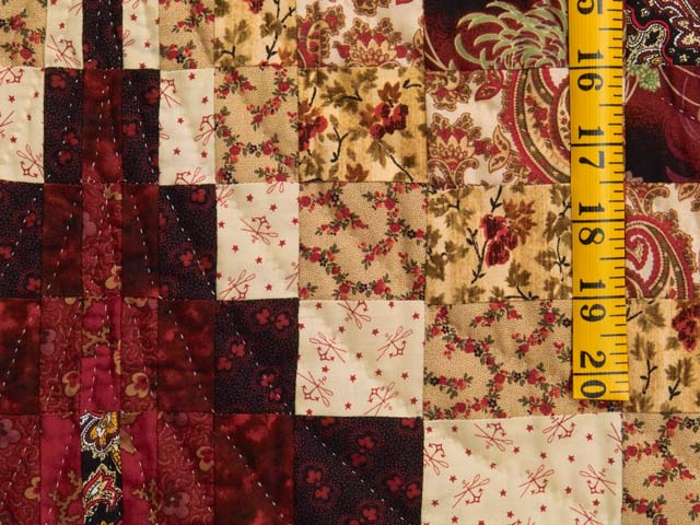 Burgundy and Golden Tan Bargello Quilt Photo 5