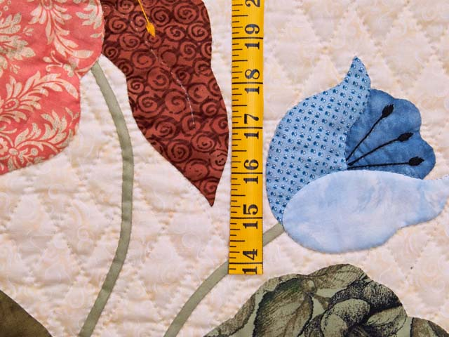 King Moss Coral and Blue Petal Showcase Quilt Photo 5