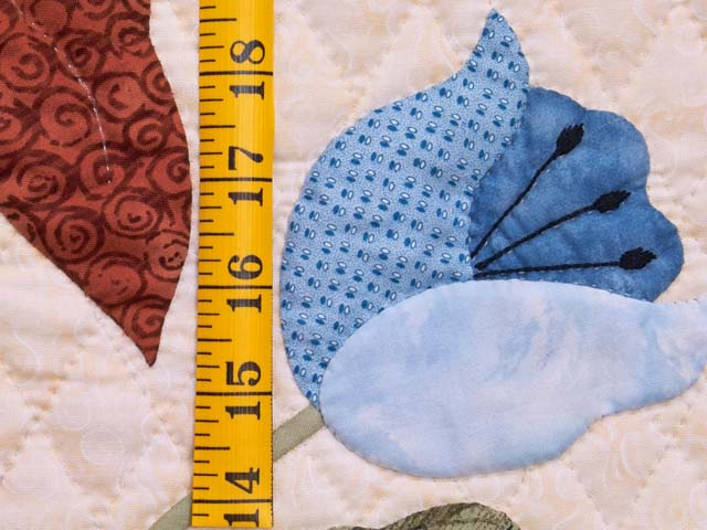 King Moss Coral and Blue Petal Showcase Quilt Photo 6