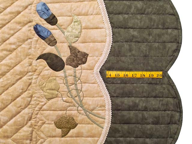 King Moss Coral and Blue Petal Showcase Quilt Photo 7