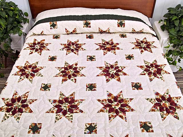 Green and Burgundy Dahlia Star Quilt Photo 1