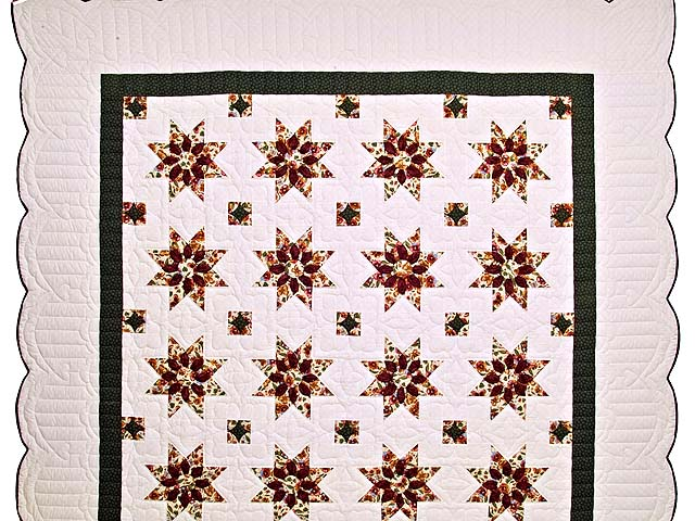 Green and Burgundy Dahlia Star Quilt Photo 2