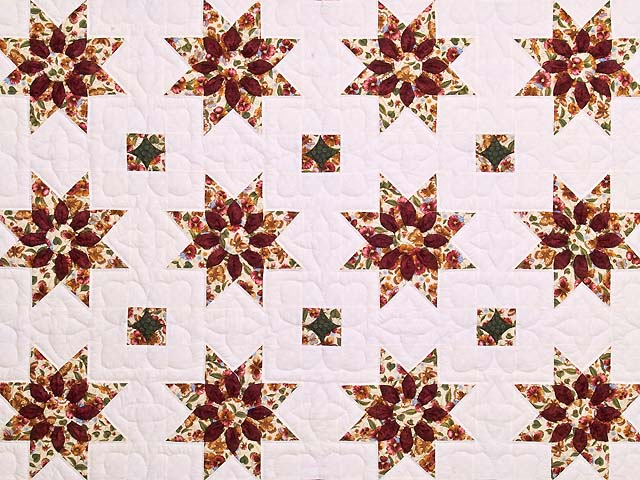 Green and Burgundy Dahlia Star Quilt Photo 3