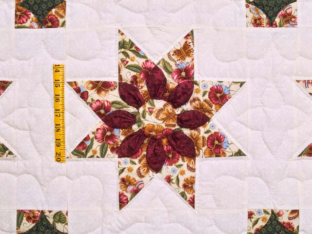 Green and Burgundy Dahlia Star Quilt Photo 4