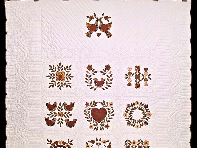Burgundy and Gold Appliqué Album Sampler Quilt Photo 2