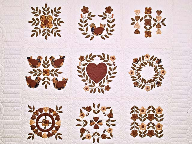 Burgundy and Gold Appliqué Album Sampler Quilt Photo 3