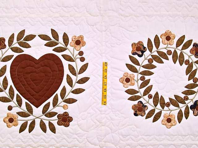 Burgundy and Gold Appliqué Album Sampler Quilt Photo 4