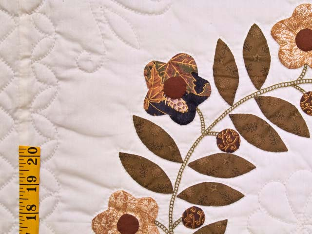 Burgundy and Gold Appliqué Album Sampler Quilt Photo 5