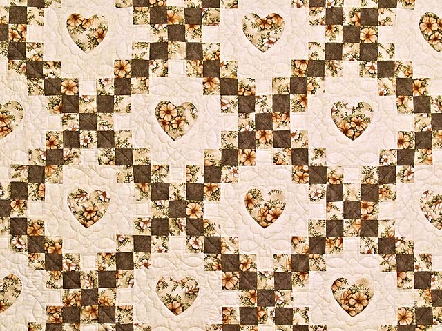 Moss and Dusty Rose Irish Chain with Hearts Quilt Photo 3