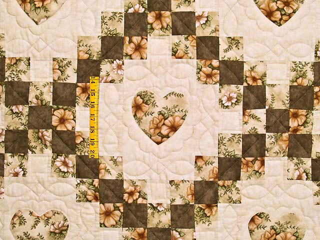 Moss and Dusty Rose Irish Chain with Hearts Quilt Photo 4