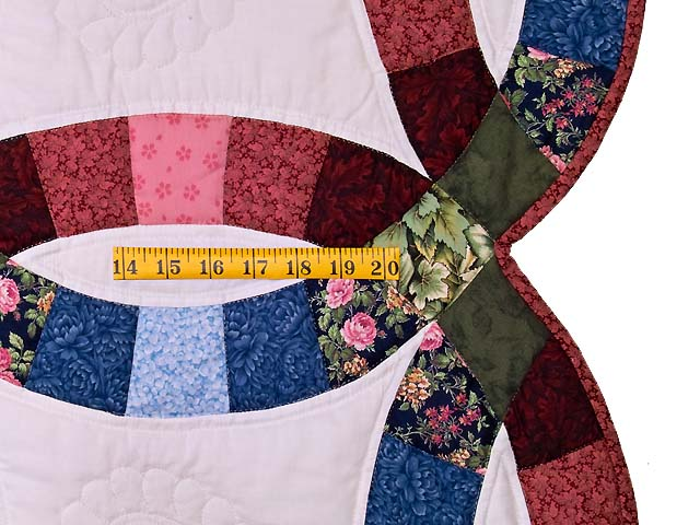 King Blue Rose and Moss Double Wedding Ring Quilt Photo 7