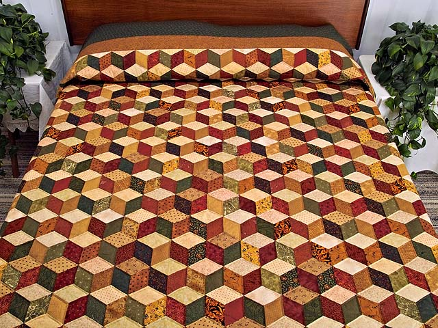 King Green Gold and Burgundy Tumbling Blocks Quilt Photo 1