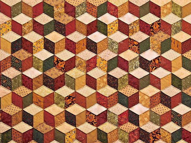 King Green Gold and Burgundy Tumbling Blocks Quilt Photo 3