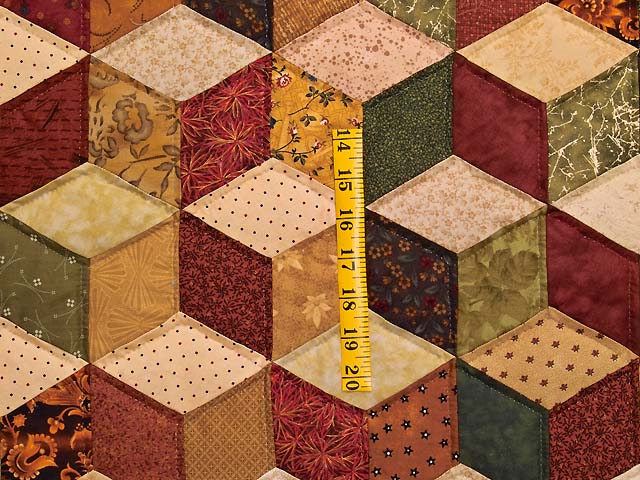 King Green Gold and Burgundy Tumbling Blocks Quilt Photo 4