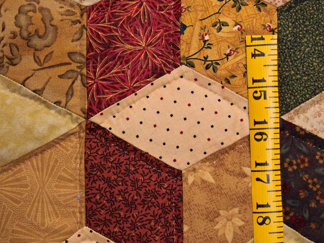 King Green Gold and Burgundy Tumbling Blocks Quilt Photo 5