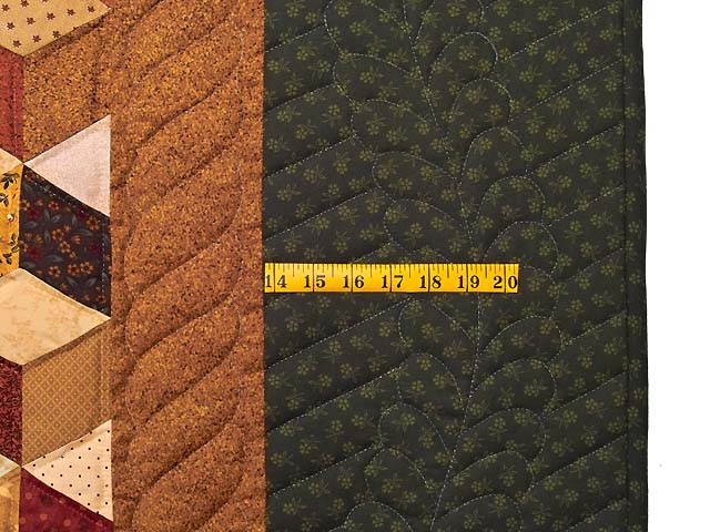 King Green Gold and Burgundy Tumbling Blocks Quilt Photo 6
